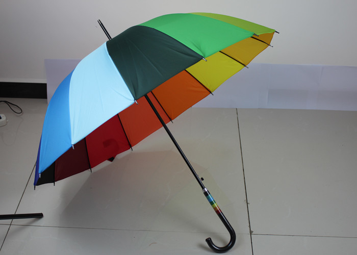 Corporate Promotional Rainbow Folding Umbrella With Anti Rust Steel Pole Shaft